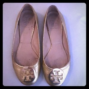 Used Tory Burch Gold Flats